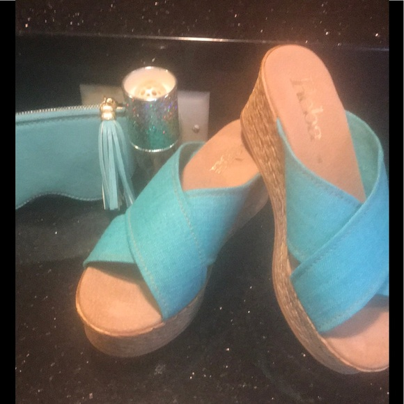 Reba Shoes - Turquoise blue wedge sandals